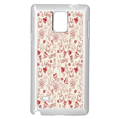 Heart Surface Kiss Flower Bear Love Valentine Day Samsung Galaxy Note 4 Case (white)