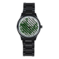 Green Bamboo Stainless Steel Round Watch