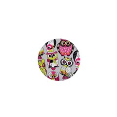 Illustration Seamless Colourful Owl Pattern 1  Mini Magnets