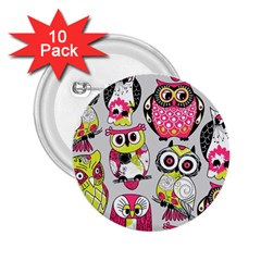 Illustration Seamless Colourful Owl Pattern 2 25  Buttons (10 Pack)