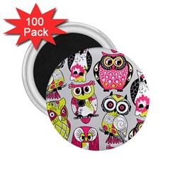 Illustration Seamless Colourful Owl Pattern 2 25  Magnets (100 Pack)  by AnjaniArt