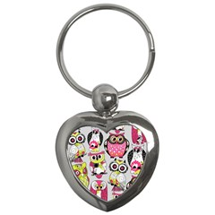 Illustration Seamless Colourful Owl Pattern Key Chains (heart)