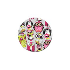 Illustration Seamless Colourful Owl Pattern Golf Ball Marker