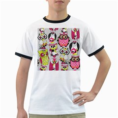 Illustration Seamless Colourful Owl Pattern Ringer T Shirts by AnjaniArt