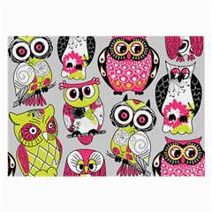 Illustration Seamless Colourful Owl Pattern Large Glasses Cloth (2 Side) by AnjaniArt