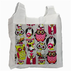 Illustration Seamless Colourful Owl Pattern Recycle Bag (one Side) by AnjaniArt