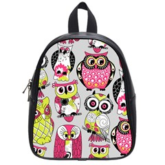 Illustration Seamless Colourful Owl Pattern School Bags (small)  by AnjaniArt