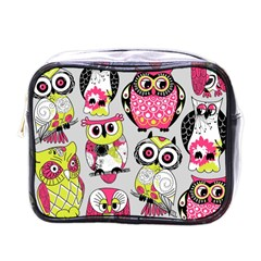 Illustration Seamless Colourful Owl Pattern Mini Toiletries Bags by AnjaniArt