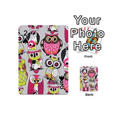 Illustration Seamless Colourful Owl Pattern Playing Cards 54 (mini)  by AnjaniArt