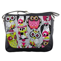 Illustration Seamless Colourful Owl Pattern Messenger Bags