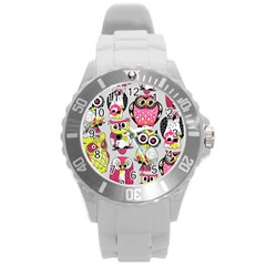 Illustration Seamless Colourful Owl Pattern Round Plastic Sport Watch (l) by AnjaniArt