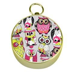 Illustration Seamless Colourful Owl Pattern Gold Compasses by AnjaniArt