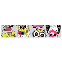 Illustration Seamless Colourful Owl Pattern Flano Scarf (small) by AnjaniArt