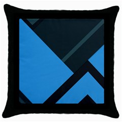 Lines Textur  Stripes Blue Throw Pillow Case (black) by AnjaniArt