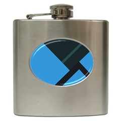 Lines Textur  Stripes Blue Hip Flask (6 Oz) by AnjaniArt