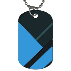 Lines Textur  Stripes Blue Dog Tag (two Sides) by AnjaniArt