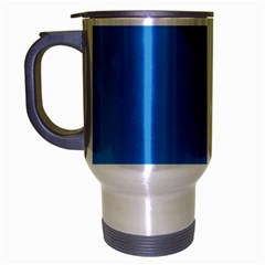 Lines Textur  Stripes Blue Travel Mug (silver Gray) by AnjaniArt
