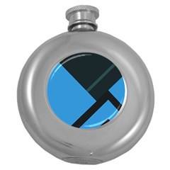 Lines Textur  Stripes Blue Round Hip Flask (5 Oz) by AnjaniArt