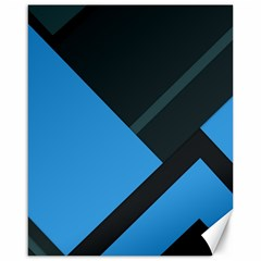 Lines Textur  Stripes Blue Canvas 16  X 20   by AnjaniArt