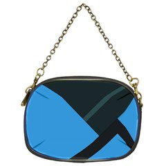 Lines Textur  Stripes Blue Chain Purses (one Side)  by AnjaniArt