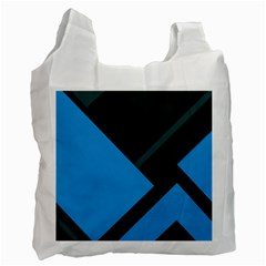 Lines Textur  Stripes Blue Recycle Bag (one Side) by AnjaniArt