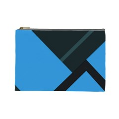 Lines Textur  Stripes Blue Cosmetic Bag (large)  by AnjaniArt