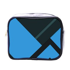 Lines Textur  Stripes Blue Mini Toiletries Bags by AnjaniArt