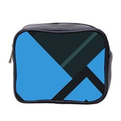 Lines Textur  Stripes Blue Mini Toiletries Bag 2 Side