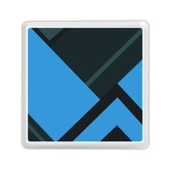 Lines Textur  Stripes Blue Memory Card Reader (square)  by AnjaniArt