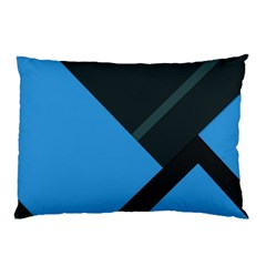 Lines Textur  Stripes Blue Pillow Case (two Sides) by AnjaniArt