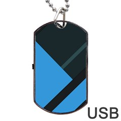 Lines Textur  Stripes Blue Dog Tag Usb Flash (two Sides)  by AnjaniArt