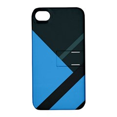Lines Textur  Stripes Blue Apple Iphone 4/4s Hardshell Case With Stand by AnjaniArt