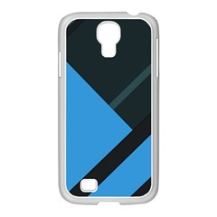 Lines Textur  Stripes Blue Samsung Galaxy S4 I9500/ I9505 Case (white) by AnjaniArt