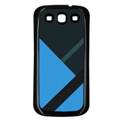 Lines Textur  Stripes Blue Samsung Galaxy S3 Back Case (black) by AnjaniArt