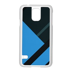 Lines Textur  Stripes Blue Samsung Galaxy S5 Case (white) by AnjaniArt
