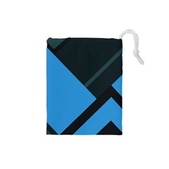 Lines Textur  Stripes Blue Drawstring Pouches (small)  by AnjaniArt