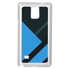 Lines Textur  Stripes Blue Samsung Galaxy Note 4 Case (white) by AnjaniArt