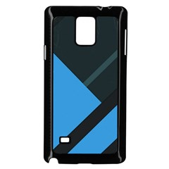 Lines Textur  Stripes Blue Samsung Galaxy Note 4 Case (black) by AnjaniArt