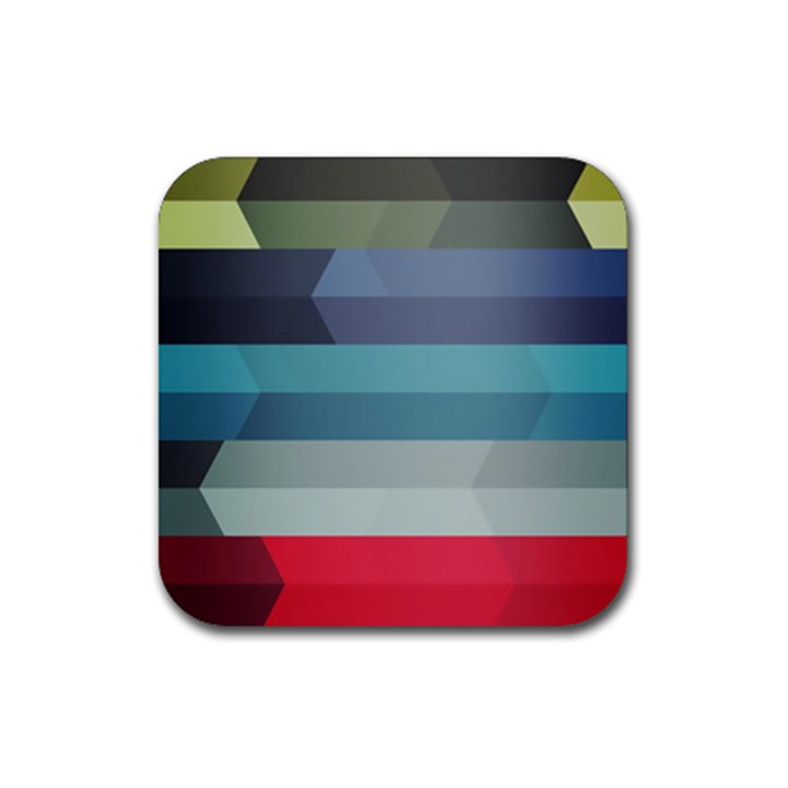 Line Light Stripes Colorful Rubber Coaster (Square)