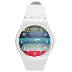 Line Light Stripes Colorful Round Plastic Sport Watch (m) by AnjaniArt