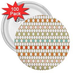 Lab Pattern Hexagon Multicolor 3  Buttons (100 Pack)  by AnjaniArt