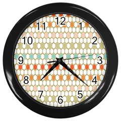 Lab Pattern Hexagon Multicolor Wall Clocks (black) by AnjaniArt