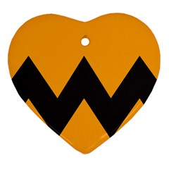 Minimal Modern Simple Orange Heart Ornament (2 Sides) by AnjaniArt