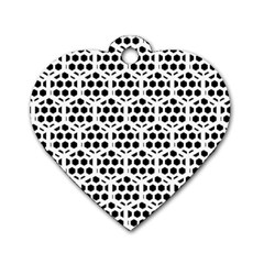 Seamless Honeycomb Pattern Dog Tag Heart (two Sides)