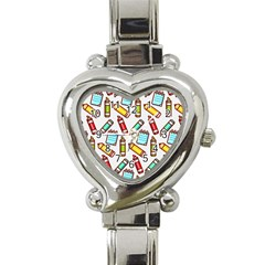 Seamless Pixel Art Pattern Heart Italian Charm Watch by Amaryn4rt