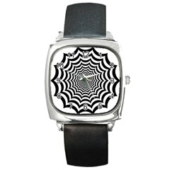 Spider Web Hypnotic Square Metal Watch by Amaryn4rt