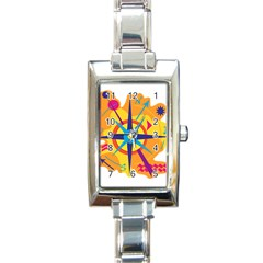 Orange Navigation Rectangle Italian Charm Watch by Valentinaart