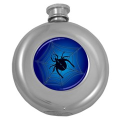 Spider On Web Round Hip Flask (5 Oz)