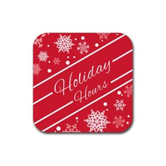 Winter Holiday Hours Rubber Square Coaster (4 Pack)