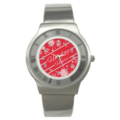 Winter Holiday Hours Stainless Steel Watch by Amaryn4rt